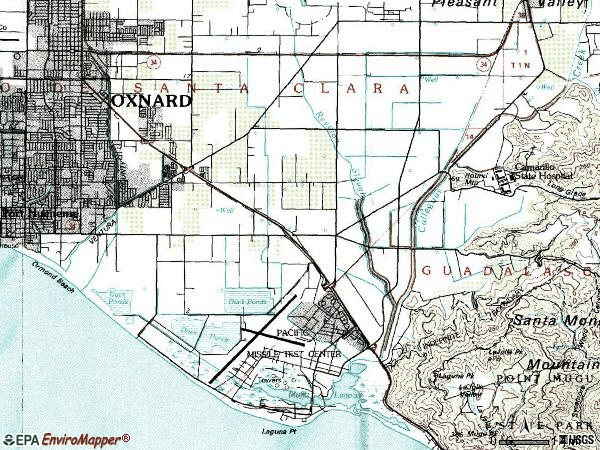Zip code 93033 topographic map