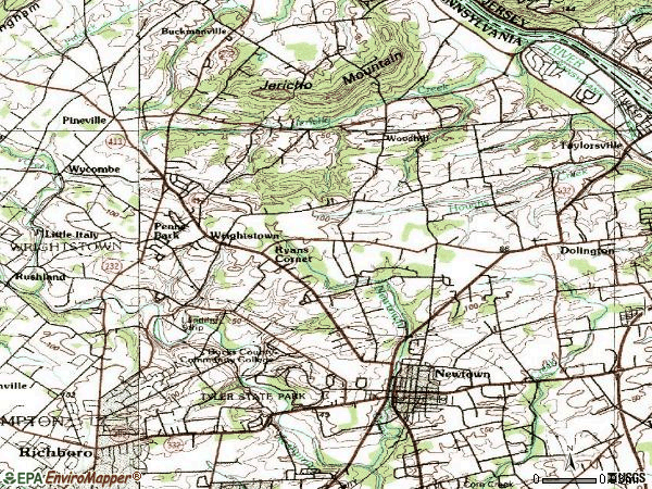 Zip code 18940 topographic map