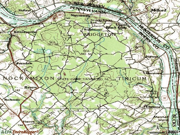 Zip code 18972 topographic map