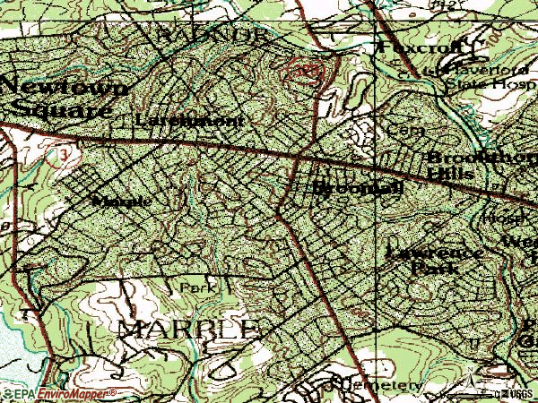 Zip code 19008 topographic map