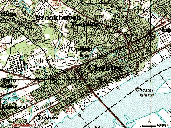 Zip code 19013 topographic map