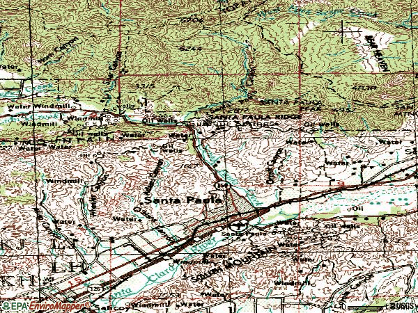 Zip code 93060 topographic map