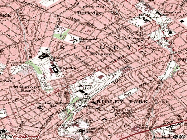 Zip code 19033 topographic map