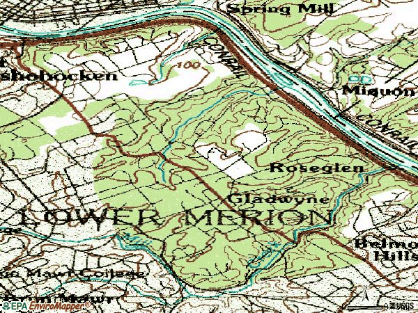 Zip code 19035 topographic map