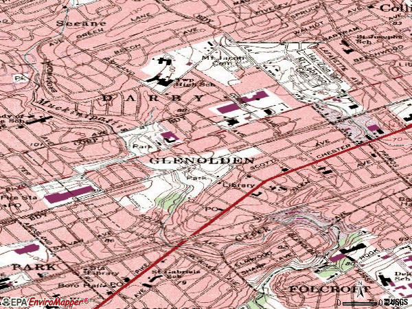 Zip code 19036 topographic map