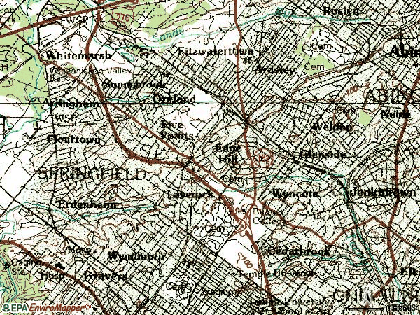 Zip code 19038 topographic map