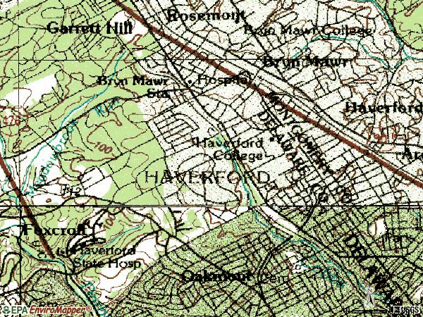 Zip code 19041 topographic map