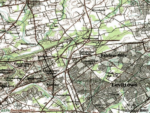 Zip code 19047 topographic map