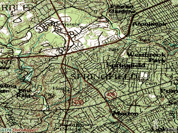 Zip code 19064 topographic map