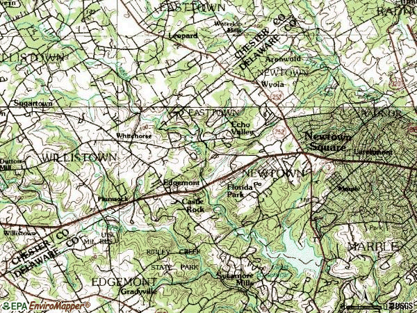 Zip code 19073 topographic map