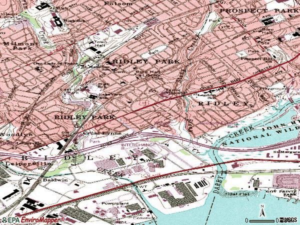 Zip code 19078 topographic map