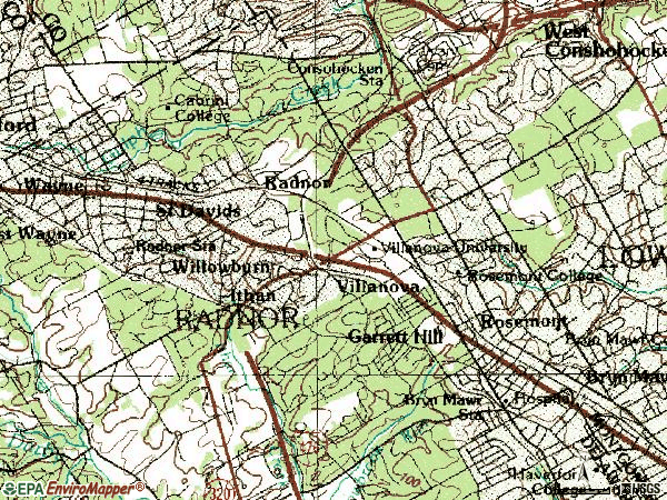 Zip code 19085 topographic map