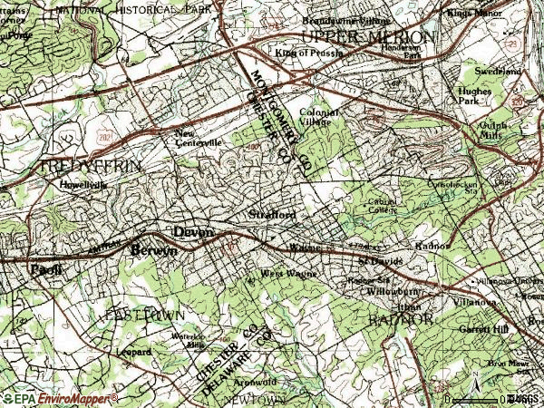 Zip code 19087 topographic map
