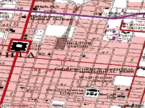 Zip code 19107 topographic map