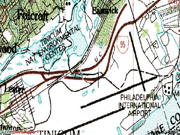 Zip code 19113 topographic map