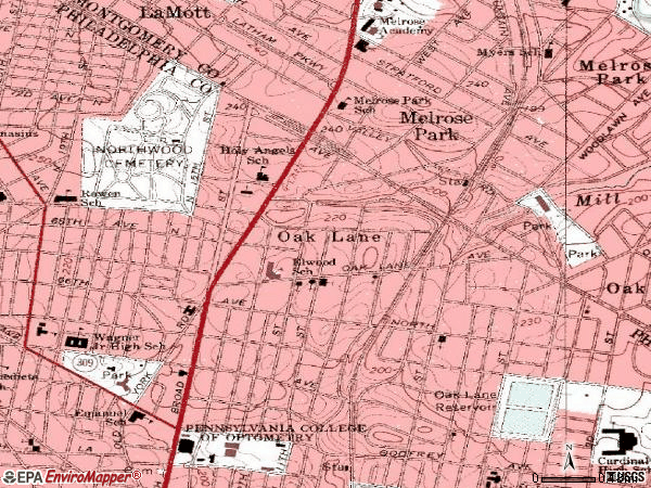 Zip code 19126 topographic map