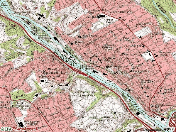 Zip code 19127 topographic map