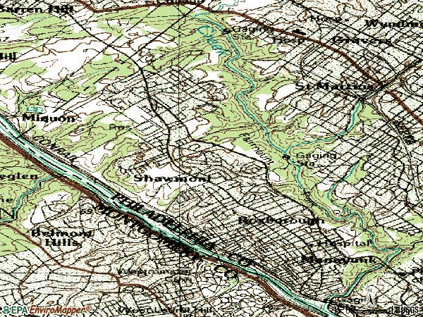 Zip code 19128 topographic map
