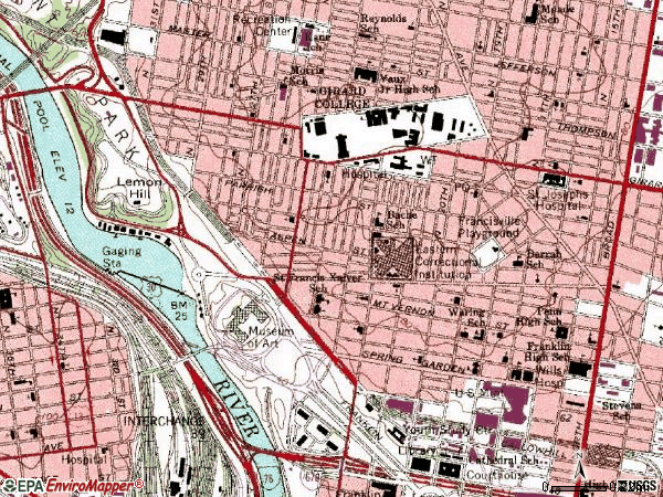 Zip code 19130 topographic map