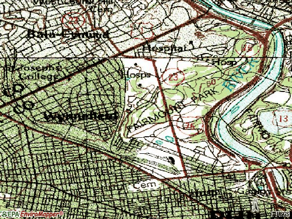Zip code 19131 topographic map