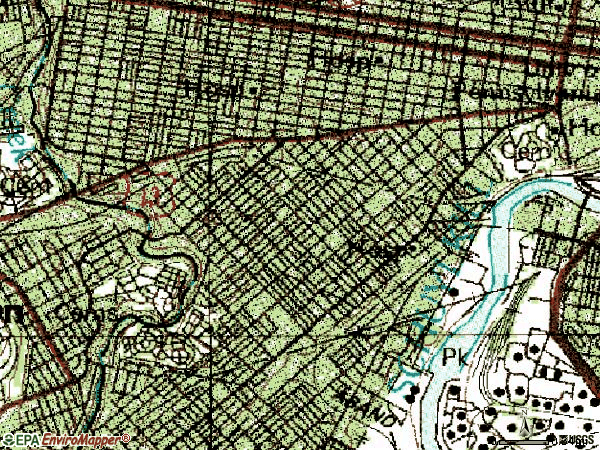 Zip code 19143 topographic map