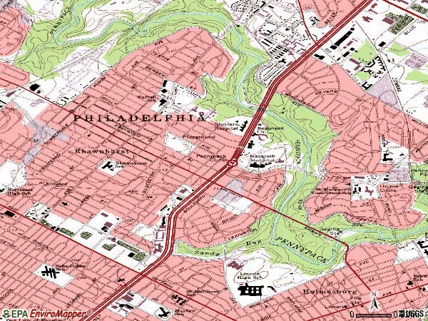Zip code 19152 topographic map