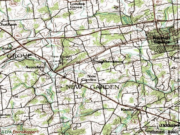 Zip code 19311 topographic map