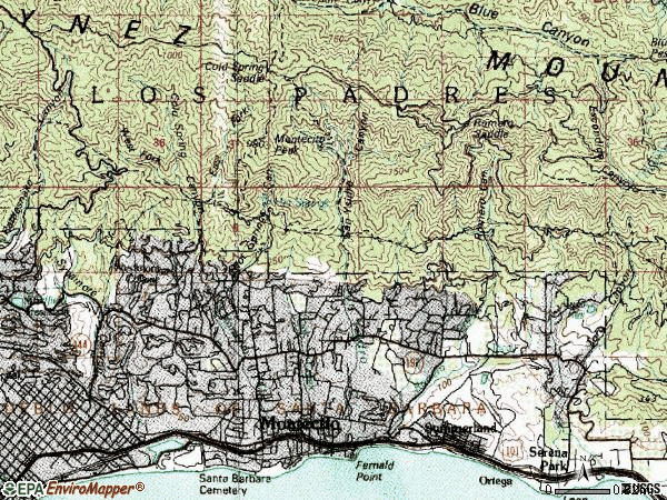 Zip code 93108 topographic map