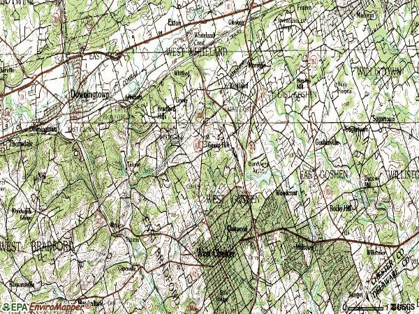 Zip code 19380 topographic map