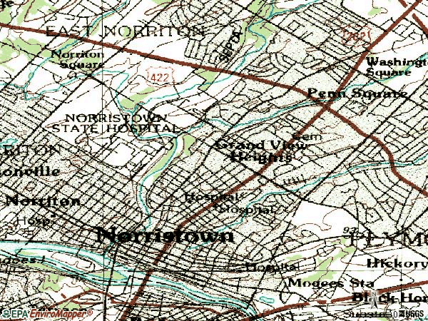 Zip code 19401 topographic map