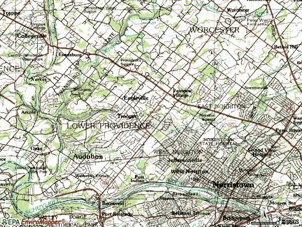Zip code 19403 topographic map