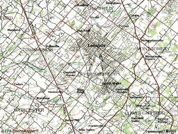 Zip code 19446 topographic map