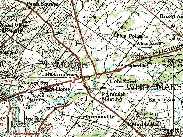 Zip code 19462 topographic map