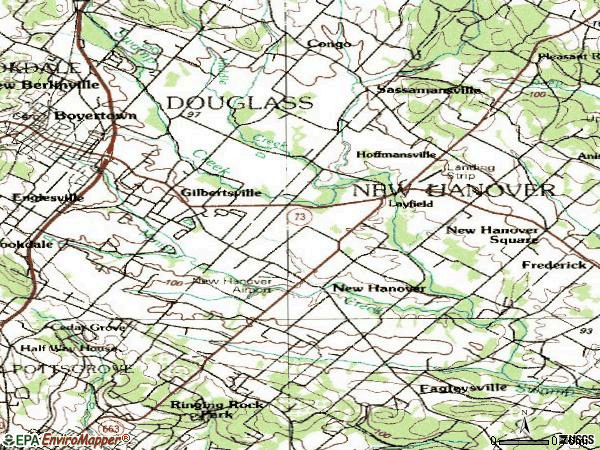 Zip code 19525 topographic map