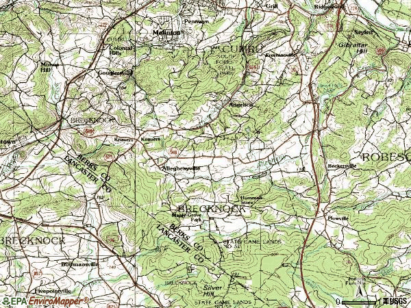 Zip code 19540 topographic map