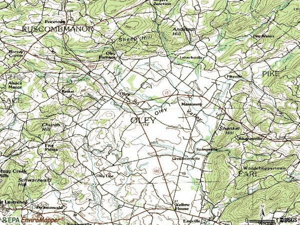 Zip code 19547 topographic map