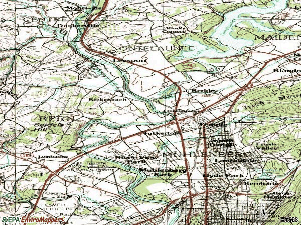 Zip code 19605 topographic map