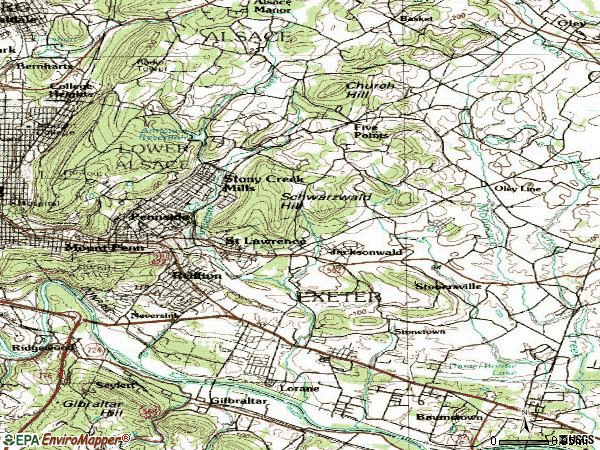 Zip code 19606 topographic map