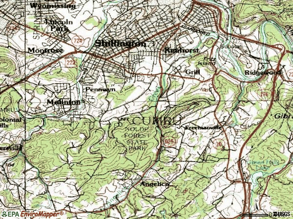 Zip code 19607 topographic map