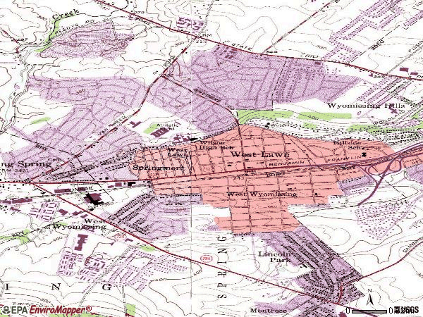Zip code 19609 topographic map