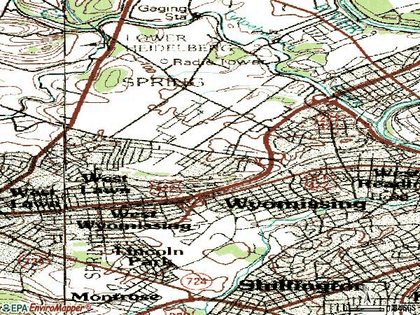 Zip code 19610 topographic map