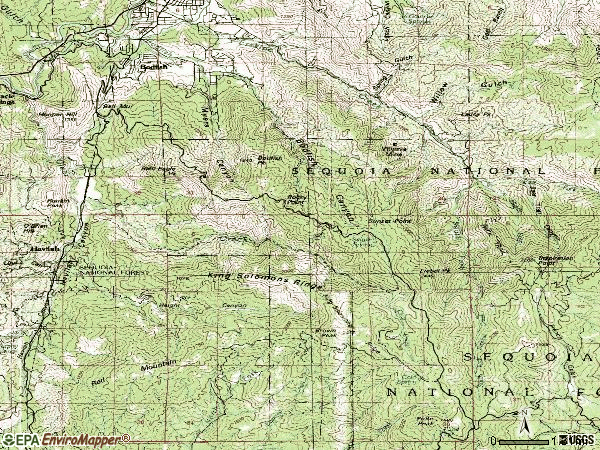 Zip code 93205 topographic map