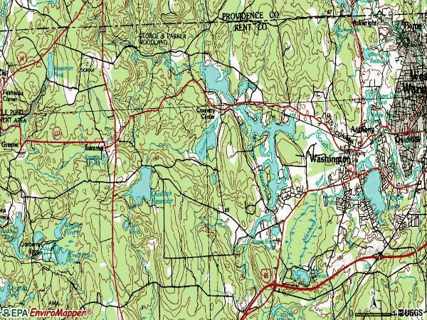 Zip code 02816 topographic map