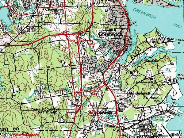 Zip code 02818 topographic map