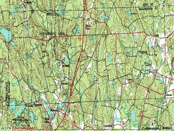 Zip code 02822 topographic map