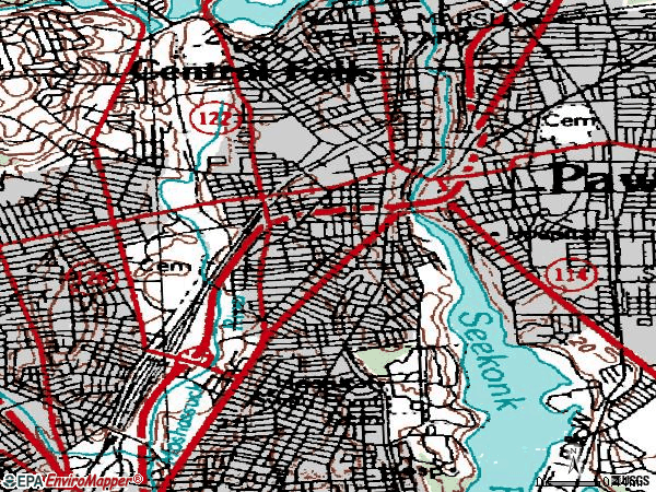 Zip code 02860 topographic map