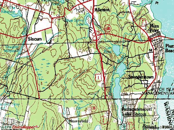 Zip code 02874 topographic map