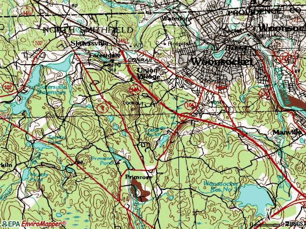 Zip code 02896 topographic map
