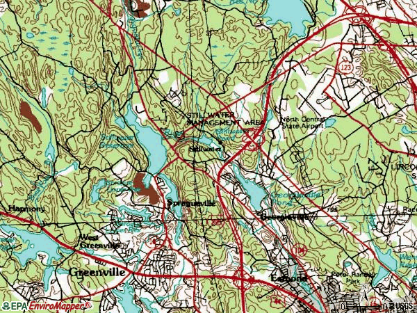 Zip code 02917 topographic map