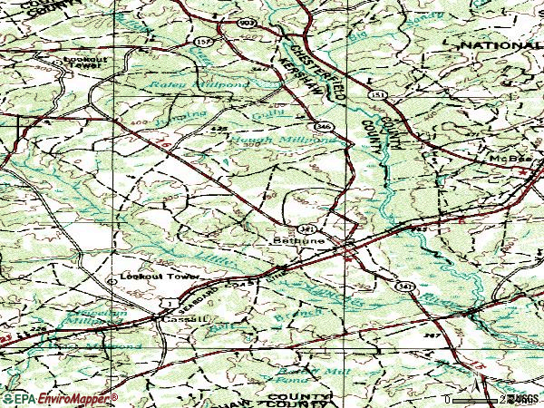 Zip code 29009 topographic map